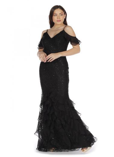 Pierre Cardin Dantel Eteği Fırfırlı Abiye Elbise Siyah